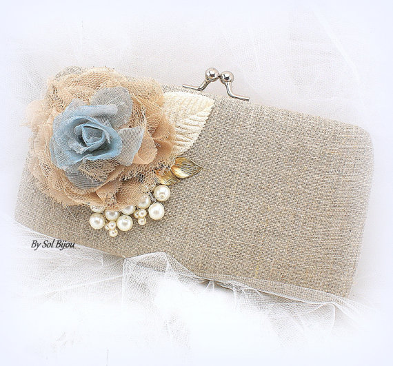 Mariage - Linen Clutch, Handbag, Maid of Honor, Bridesmaids in Ivory, Gold, Dusty Blue and Tan, Shabby Chic, Rustic Wedding- Vintage Inspired