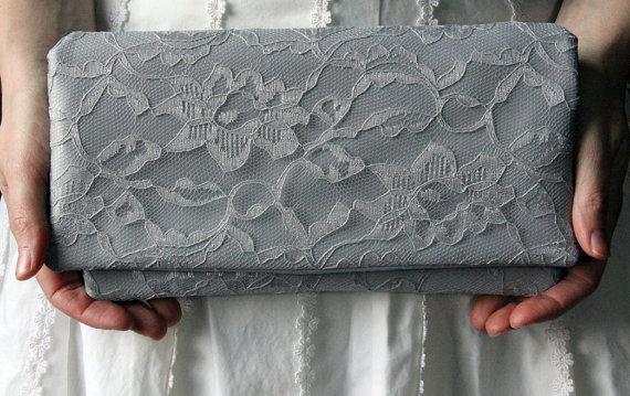Mariage - The AMELIA CLUTCH - Gray Satin Lace Clutch - Wedding Clutch Purse - Bridesmaid Bag