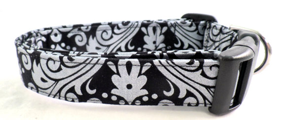 Hochzeit - Forever Fabulous Silver Metallic Damask on Black Dog Collar