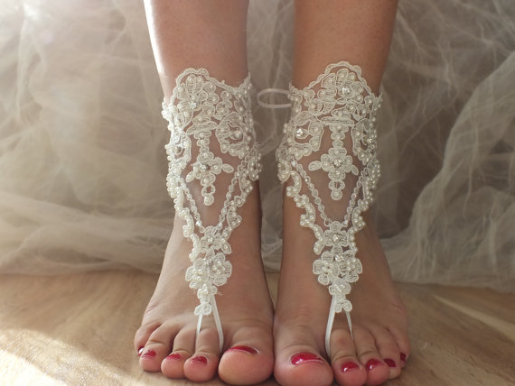 Ivory Lace Sandals Sandals Ivory Barefoot
