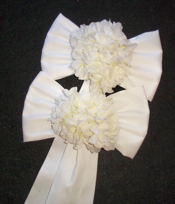 Pew Bows With Hydrangeas, Set Of 2, Chair Bows With Hydrangeas, Pew ...