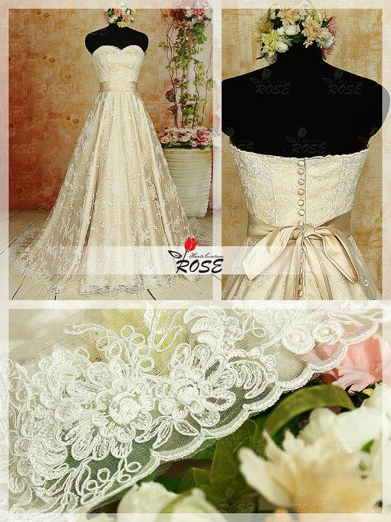 Wedding - A Line Strapless Sweetheart Lace Wedding Dresses with Satin Waist Sash Style WD029