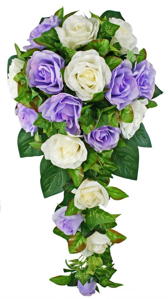 Mariage - Lavender and Ivory Silk Rose Cascade - Bridal Wedding Bouquet