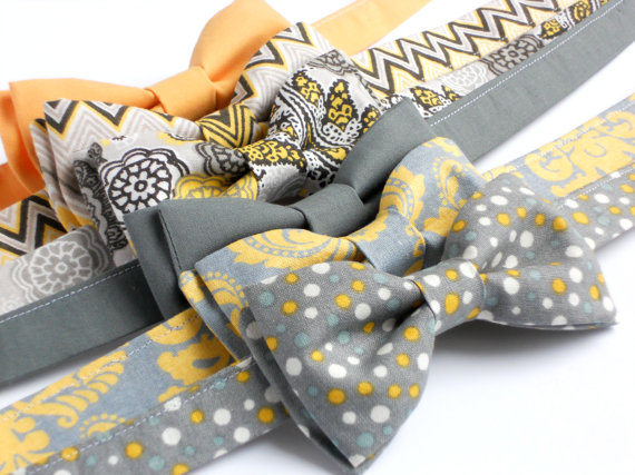 Mariage - Toddler bowtie in gray and yellow -- boys birthday bow tie--ring bearer bow tie