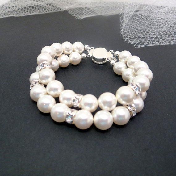Mariage - Pearl Bridal bracelet, Wedding bracelet, Pearl bracelet, Rhinestone bracelet, Simple wedding jewelry, Swarovski crystal bracelet