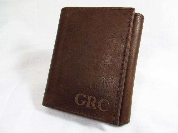 Свадьба - Personalized Leather Tri-Fold Brown Wallet Monogrammed Groomsman Best Man Graduation Wedding Gift Initials VERTICAL