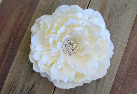 Wedding - Ivory Bridal Flower Fascinator Large Peony Wedding Hair Clip Rhinestone Crystals Ring Bearer Pillow Cake Topper Silk Flower Headband Brooch