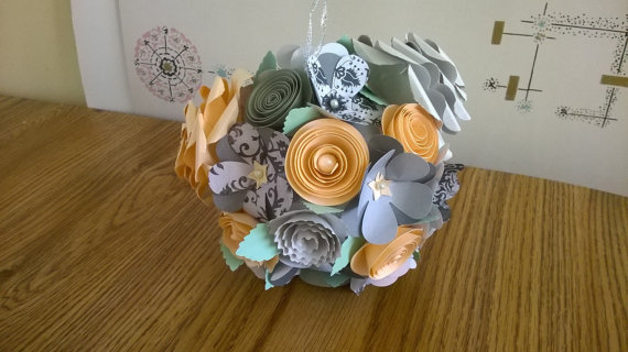 Hanging paper flower kissing ball peach gray mint garden spiral rose hanging paper flower kissing ball peach gray mint garden spiral rose pomander round ornament floral bouquet wedding bridal decoration mightylinksfo Choice Image