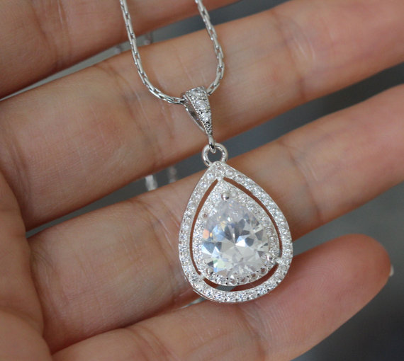 Hochzeit - cubic zirconia necklace , wedding drop necklace , bridesmaid necklace , bridal necklace