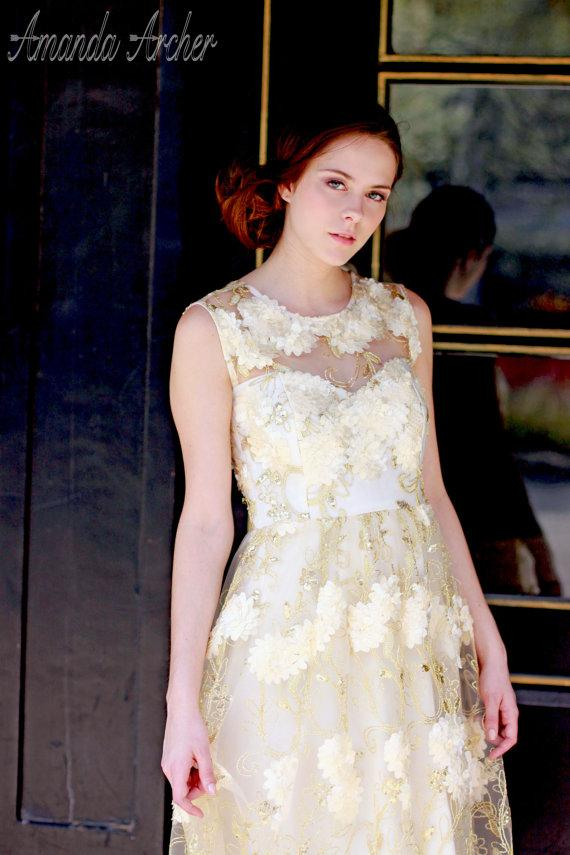زفاف - Tea Length Wedding Dress, Golden Afternoon