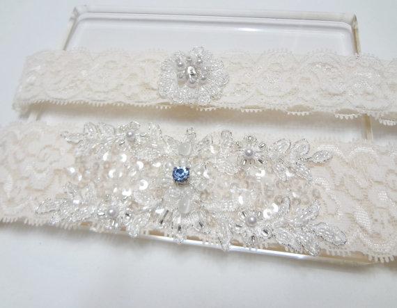 زفاف - Wedding Garter Set - Something blue, Wedding Bridal Garter, Lace Garter, Ivory lace with Swarovski rhinestone