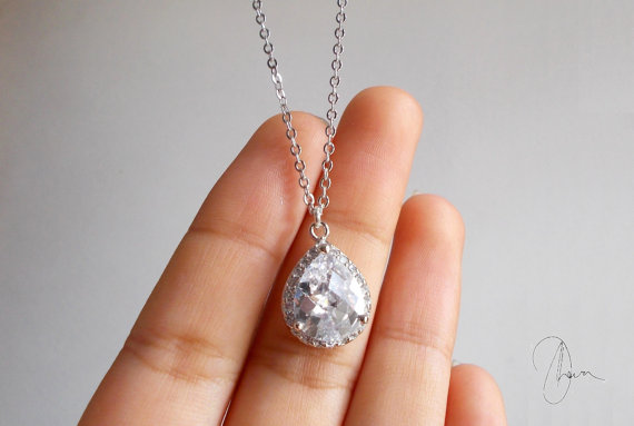 Hochzeit - Silver Crystal Wedding Necklace - Rhodium Plated Small Clear Cubic Zirconia Teardrop -Dainty Bridal Bridesmaids Maid of Honor Jewellery Gift
