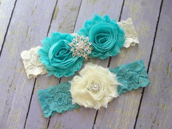 Hochzeit - ON SALE Wedding Garter Belt, Bridal Garter, Garter Sets, Custom Garter, Garter Wedding, Aqua Garter, Something Blue, Ivory Garter