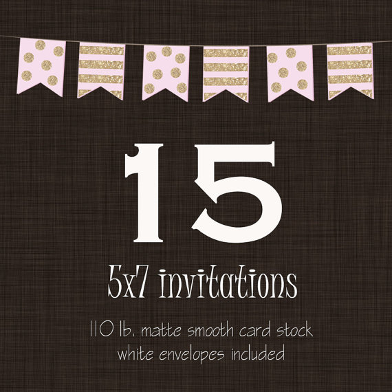 "Wedding - 15 Professionally Printed Card Stock Invitations, Cards or Announcements with Envelopes 5x7"" Printing for Any Invitation Design"