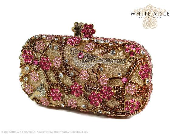 Hochzeit - Pink Blossom Crystal Clutch, Gold Bridal Clutch, Minaudiere, Wedding Purse, Evening Bag, Luxury Clutch