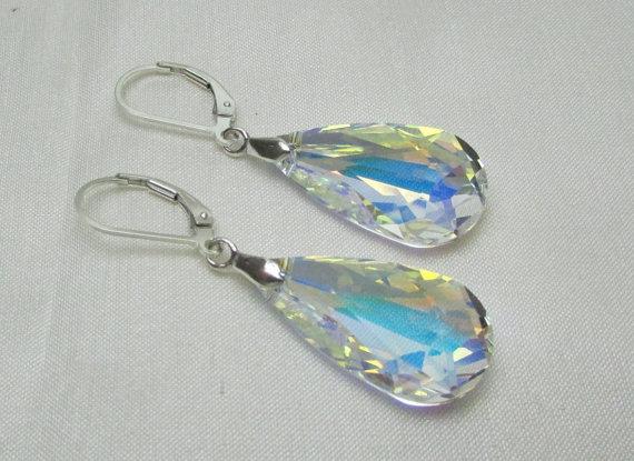 Mariage - Swarovski Teardrop Bridesmaid Earrings - Set of 5 - Bridesmaid Jewelry Bridal Earrings Swarovski Crystal Wedding Jewelry