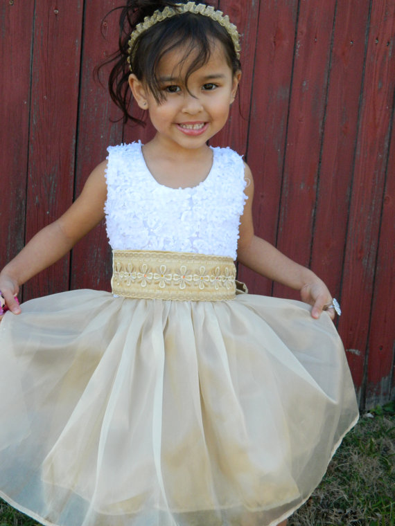5eee1a980359 White And Gold Flower Girl Dress For Little Girl #2292024 - Weddbook