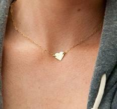 Hochzeit - Gold Heart Necklace, Love Necklace, 14kt Gold Filled Chain Necklace, Charlize Theron Heart Necklace, Bridal Jewelry