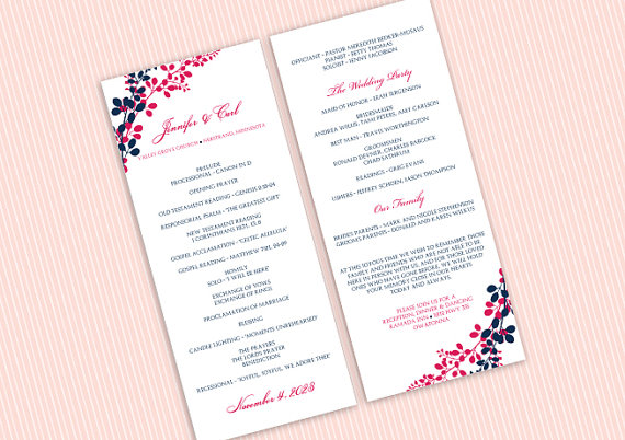 wedding program template instantly editable text