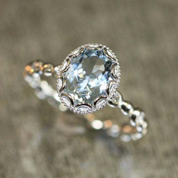 Hochzeit - Floral Aquamarine Engagement Ring in 14k White Gold Pebble Diamond Wedding Band 9x7mm Oval Aquamarine Ring (Bridal Wedding Set Available)