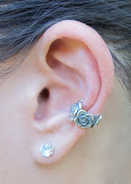 Wedding - Silver Ear Cuff - Rose Ear Cuff - Rose Jewelry Rose Earring - Non-Pierced Earring - Flower Earring - Wedding Jewelry Valentines Day Gift