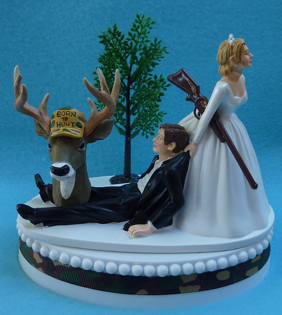 زفاف - Wedding Cake Topper Deer Hunter Hunting Gun Themed Camo w/ Bridal Garter Camouflage Bride Pulling Dragging Pulls Groom Humorous Funny Unique