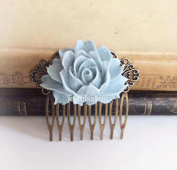 زفاف - Blue Wedding Comb Gray Hair Accessories Bridal Big Flower Comb Woodland Floral Bridesmaids Head Piece Dusky Blue Large Rose Nature Autumn WR