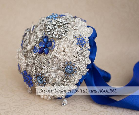 Hochzeit - Brooch bouquet. Ivory, Blue and Silver wedding brooch bouquet