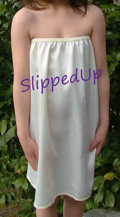Mariage - Tutu Slip -  Size 5T or 6T  Ivory STRETCH Satin Tutu Dress Slip - Strapless Girl Half Slip Little Girls Slip Lingerie