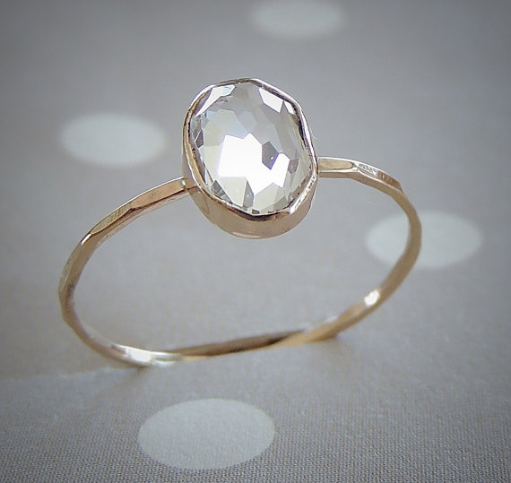 Hochzeit - Dainty Gold Ring, Engagement Ring, White Topaz Ring, Yellow Gold Ring, Rose Gold Ring, Gemstone Ring, Gold Ring, Mothers day Ring, Oval Ring