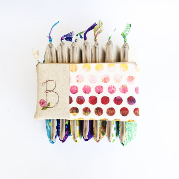 Mariage - Unique Bridesmaid Gifts, Wedding Clutch Gift Set of 8, Stitched Letter Monogram, Colorful Wedding Accessory, MADE TO ORDER MamaBleuDesigns