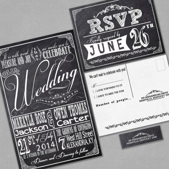 Chalkboard Wedding Invitations RSVP Cards And Address Labels Retro