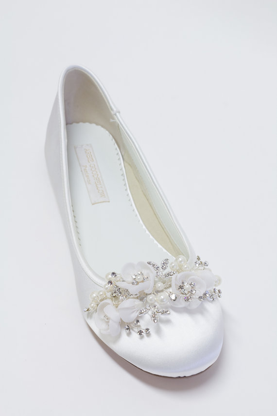 Hochzeit - Wedding Flats Shoes - Ballet Flats - Choose From Over 150 Colors - Sparkling Crystals - Parisxox By Arbie Goodfellow - Wedding Shoes - Flats
