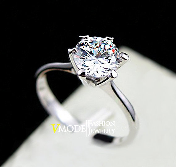 Solitaire Ring 1 Carat Round Cut Cubic Zirconia 6 G Simulated Single Diamond White Gold Engagement Wedding Everyday Gift Ajr0012b