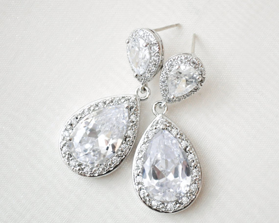 Statement Bridal Earrings Wedding Cz Jewellery