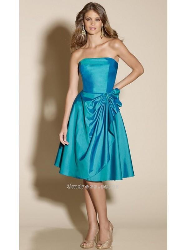 Wedding - A line Strapless Neckline Knee Length Taffeta Bridesmaid DressesSKU: MLB175