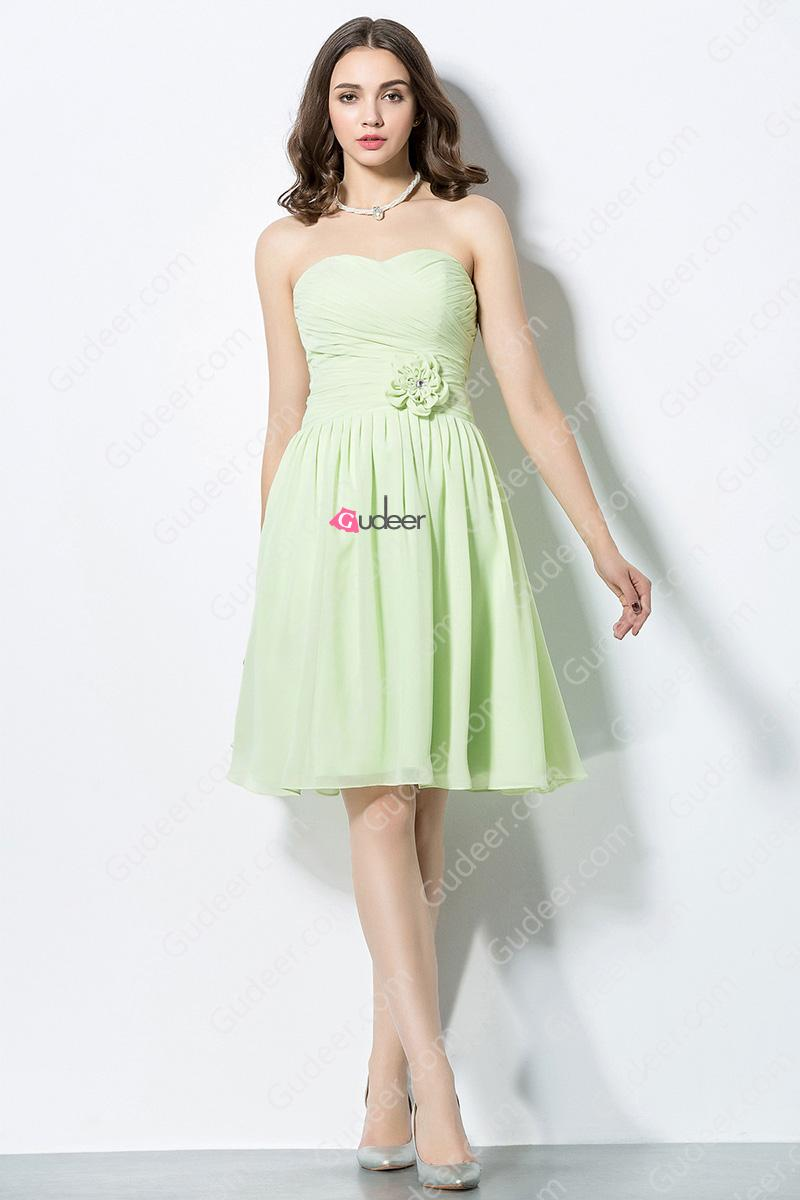Свадьба - Pretty Lime Green Pleated Chiffon Bridesmaid Dress with Lovely Flower