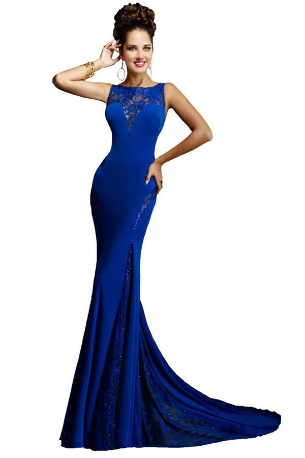 Wedding - Janique W999 Laced High Neck Mermaid Evening Gowns Cheap