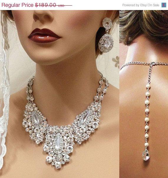 Mariage - Bridal Jewlery, Bridal Back Drop Bib Necklace Earrings , Vintage Inspired Rhinestone Bridal Necklace Statement, Wedding Jewelry