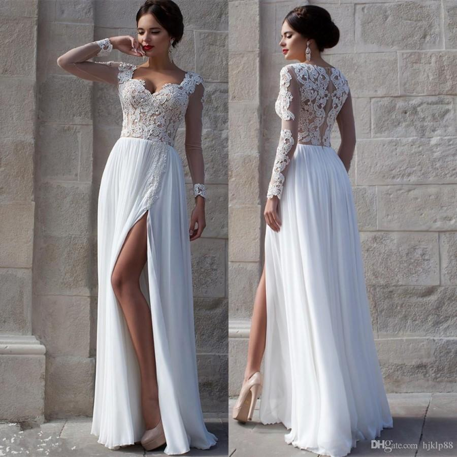 White beach wedding dresses 2015 lace bridal gowns for Long sleeve chiffon wedding dress