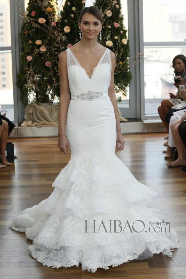 Mariage - Newest Isabelle Armstrong 2015 Wedding Dresses Sash Mermaid Sleeveless V-Neck Sheer Lace Applique Cheap Bridal Gown Dress Chapel Train Online with $134.4/Piece on Hjklp88's Store