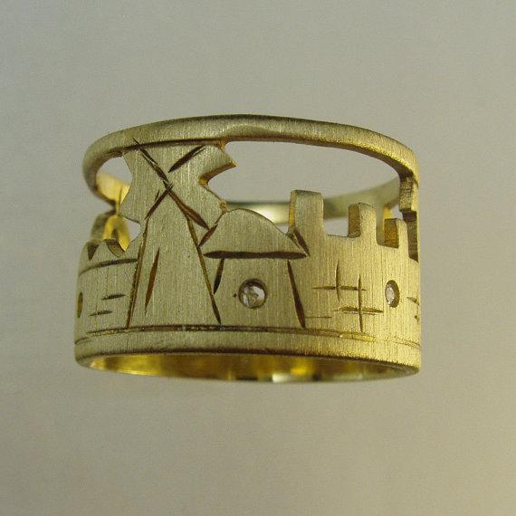 Mariage - Handmade Engagement Ring.Daimond ring,14 karat  solid gold ring,Recycled gold, Wedding Band, Gold
