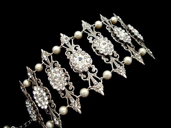 Свадьба - Vintage cuff bracelet, bridal bracelet, Victorian style bracelet, wedding jewelry, Swarovski crystals and pearls