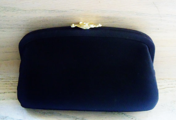 Mariage - Vintage Clutch Purse Black Winter Wedding Special Occasion Event Gift fo Her Christmas Birthday