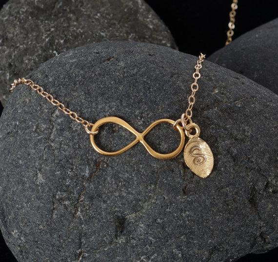 Свадьба - Initial Necklace, Personalized, Initial Infinity Necklace, Bridal Jewelry, Wedding