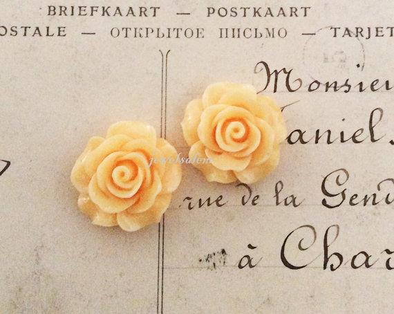 زفاف - Peach Earrings Pale Orange Wedding Bridal Jewelry Romantic Bridesmaids Gift Card Thank You Note Floral Studs Flower Girl Friendship Sister