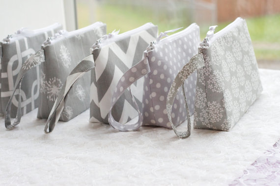 Mariage - Gray Wedding Bride Bridesmaid Clutch Wristlet Gray and White SET OF 5