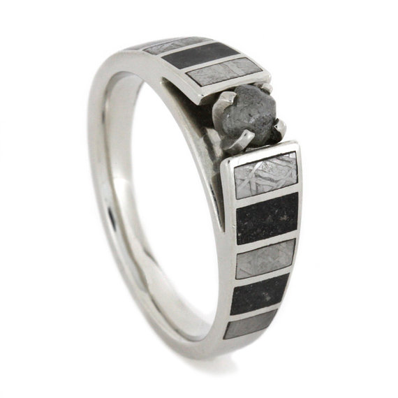 Wedding - Palladium Engagement Ring, Rough Diamond Stone with Meteorite and Stardust Accents, Cathedral Style