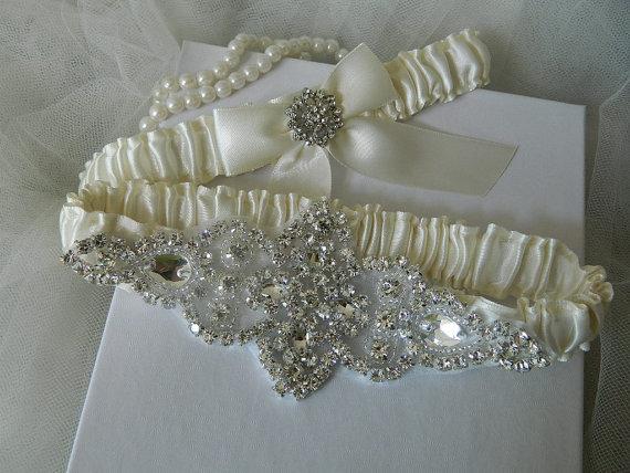 Mariage - Wedding Garter - Bridal Garter - Ivory Crystal Rhinestone Garter - Wedding Garter Set