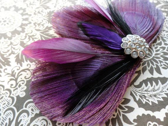 DANIELLE Grape Purple Peacock Feather Hair Clip f5527fd7784